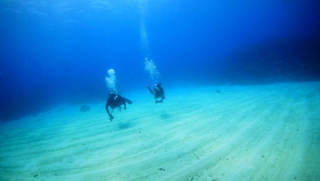 伊是名の砂地でダイビング